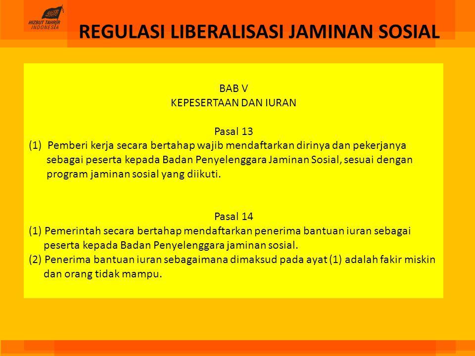 REGULASI LIBERALISASI JAMINAN SOSIAL
