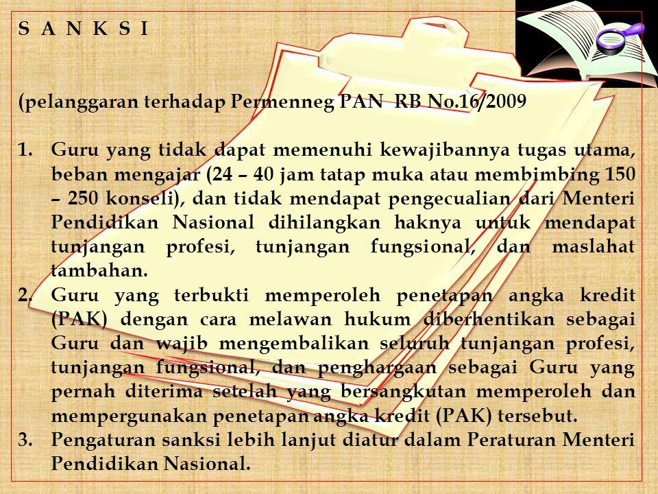 S A N K S I (pelanggaran terhadap Permenneg PAN RB No.16/2009.