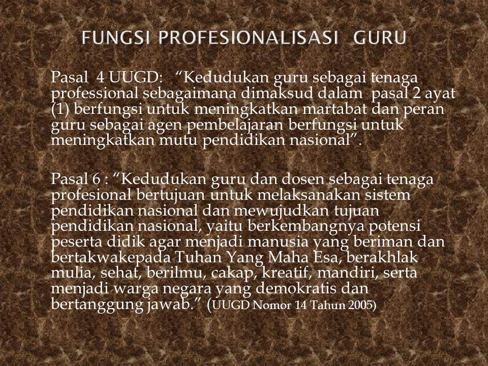 FUNGSI PROFESIONALISASI GURU