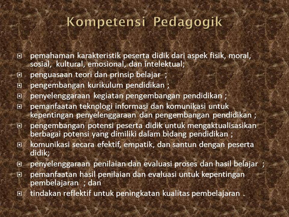 Kompetensi Pedagogik pemahaman karakteristik peserta didik dari aspek fisik, moral, sosial, kultural, emosional, dan intelektual;