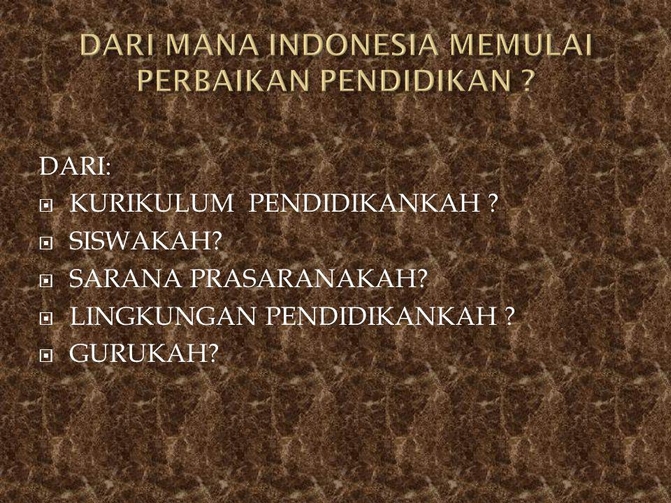 DARI MANA INDONESIA MEMULAI PERBAIKAN PENDIDIKAN