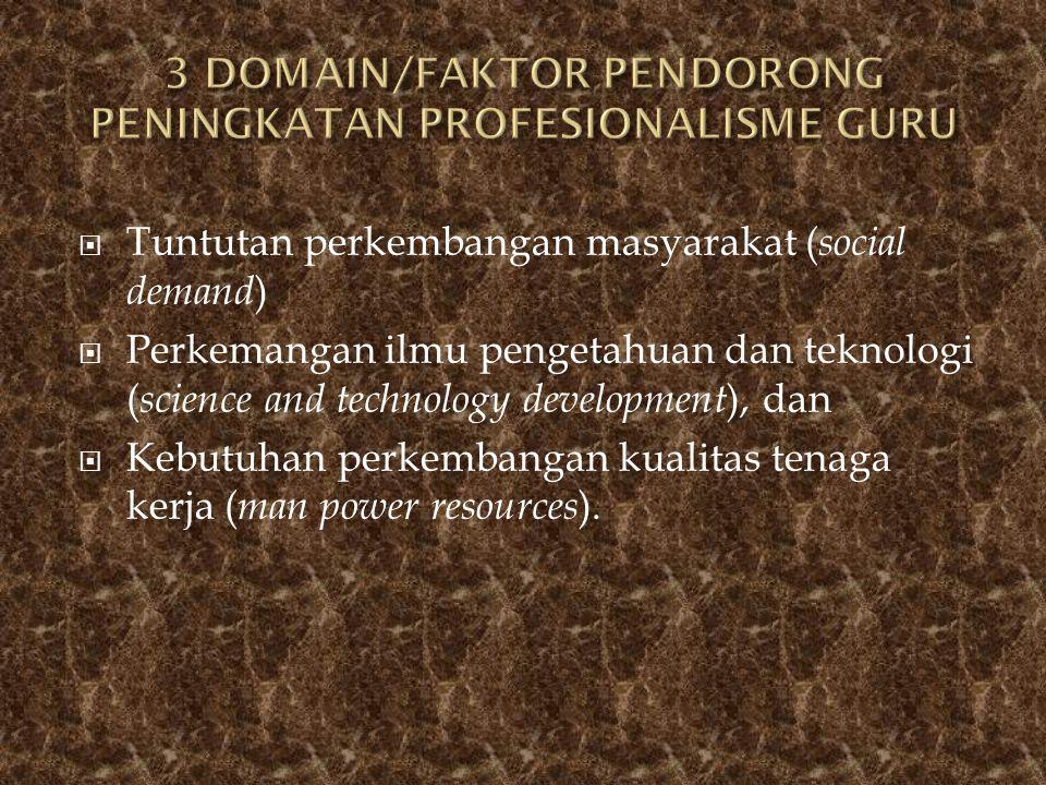 3 DOMAIN/FAKTOR PENDORONG PENINGKATAN PROFESIONALISME GURU