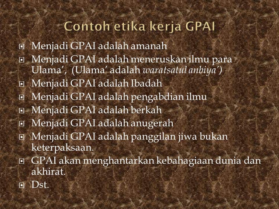 Contoh etika kerja GPAI