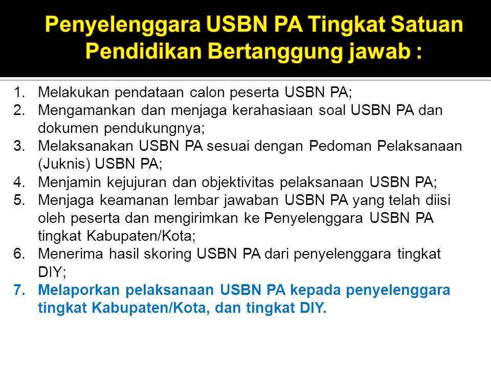 Penyelenggara USBN PA Tingkat Satuan Pendidikan Bertanggung jawab :