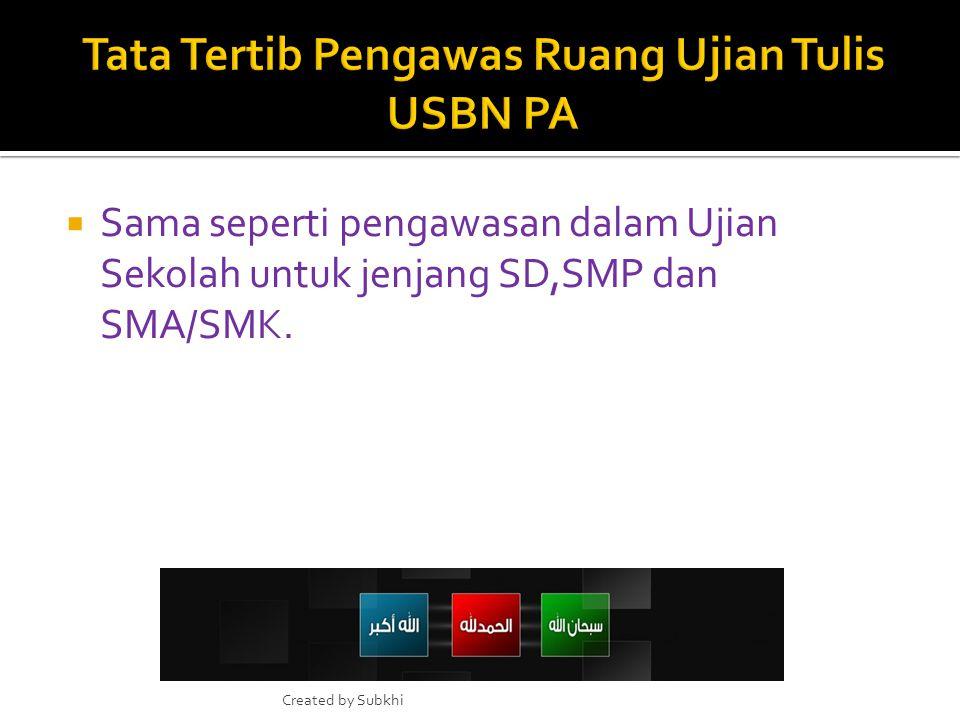 Tata Tertib Pengawas Ruang Ujian Tulis USBN PA