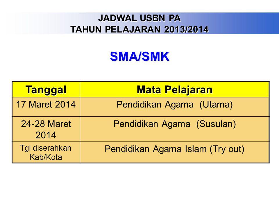 SMA/SMK Tanggal Mata Pelajaran JADWAL USBN PA