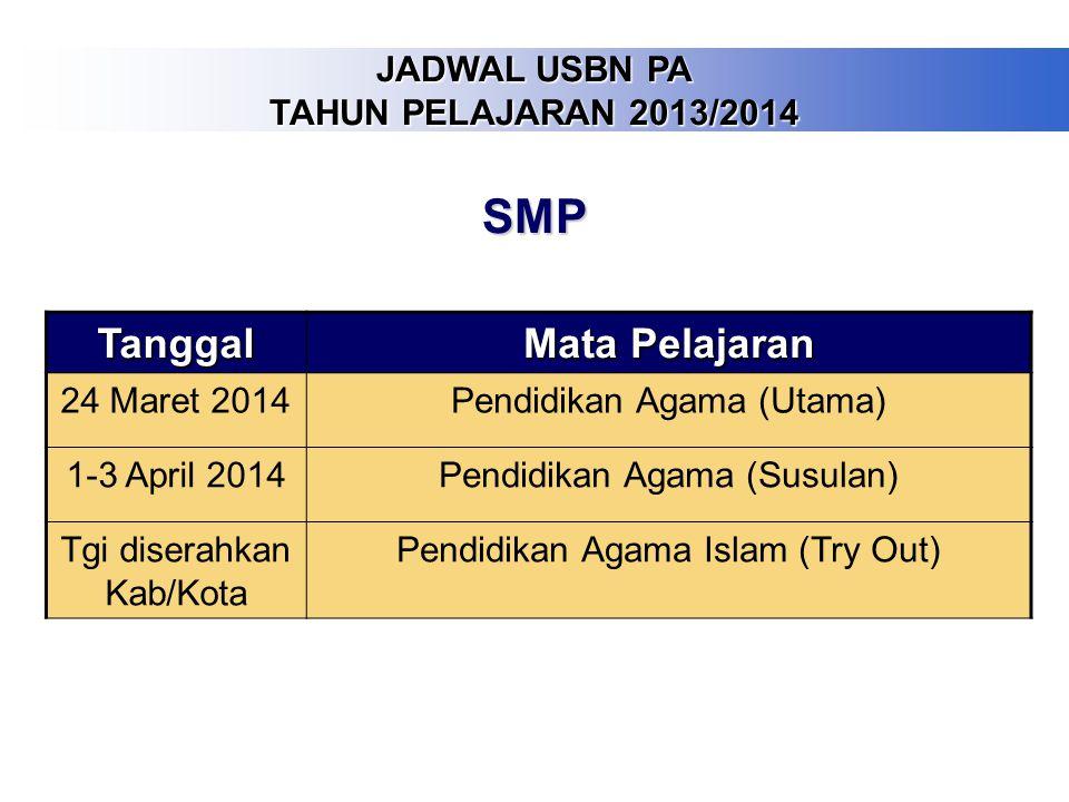 SMP Tanggal Mata Pelajaran JADWAL USBN PA TAHUN PELAJARAN 2013/2014