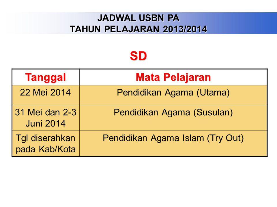SD Tanggal Mata Pelajaran JADWAL USBN PA TAHUN PELAJARAN 2013/2014