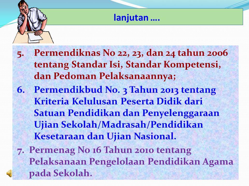 lanjutan …. 5. Permendiknas No 22, 23, dan 24 tahun 2006 tentang Standar Isi, Standar Kompetensi, dan Pedoman Pelaksanaannya;