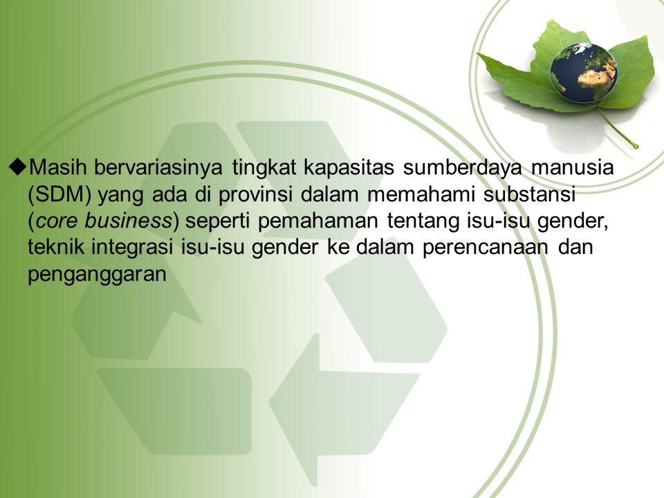 Masih bervariasinya tingkat kapasitas sumberdaya manusia (SDM) yang ada di provinsi dalam memahami substansi (core business) seperti pemahaman tentang isu-isu gender, teknik integrasi isu-isu gender ke dalam perencanaan dan penganggaran