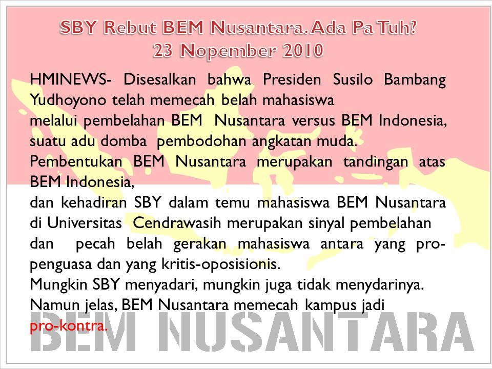 SBY Rebut BEM Nusantara. Ada Pa Tuh