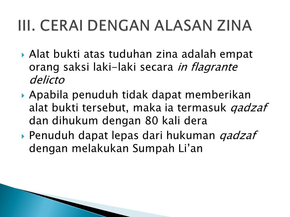 III. CERAI DENGAN ALASAN ZINA