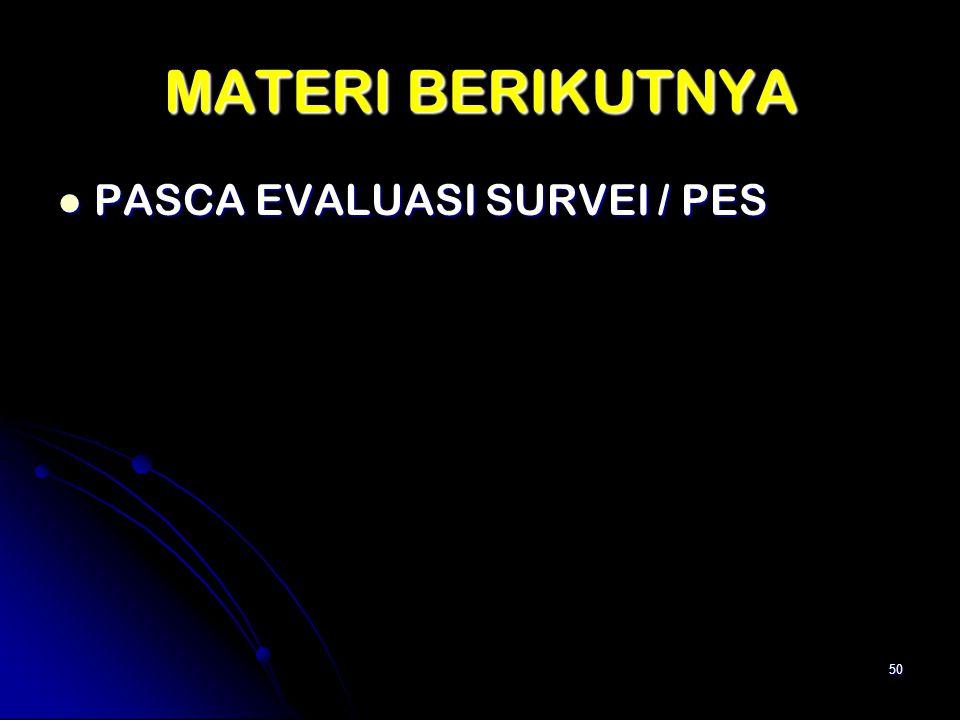 MATERI BERIKUTNYA PASCA EVALUASI SURVEI / PES