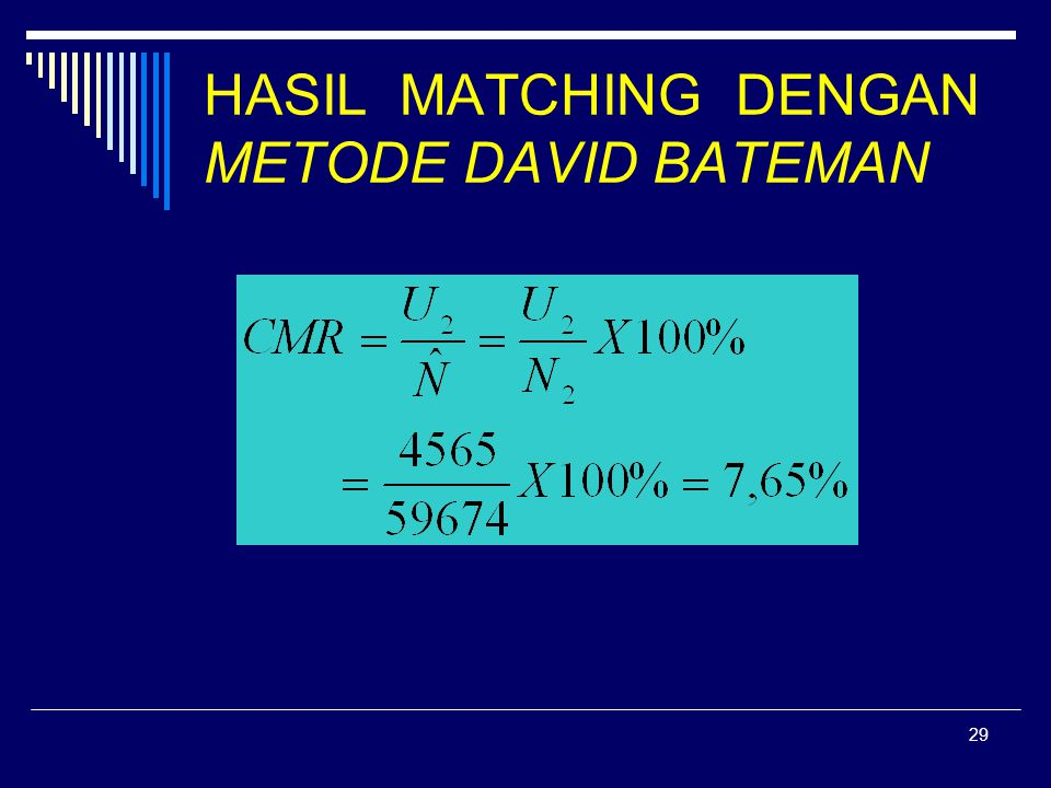 HASIL MATCHING DENGAN METODE DAVID BATEMAN