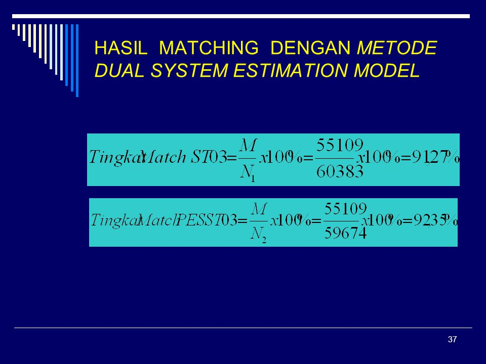 HASIL MATCHING DENGAN METODE DUAL SYSTEM ESTIMATION MODEL