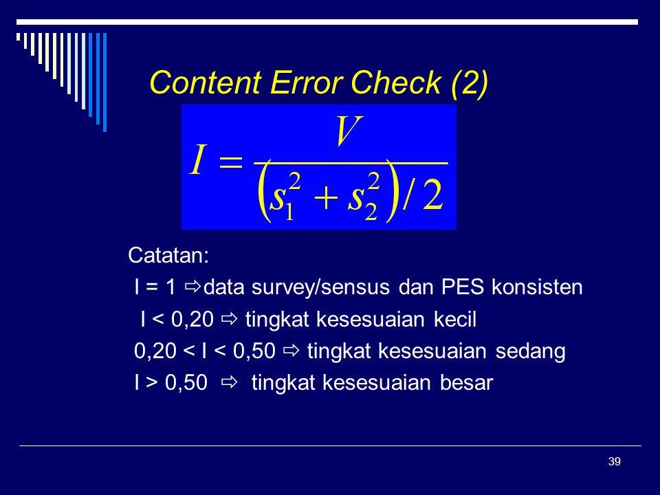 Content Error Check (2) Catatan: