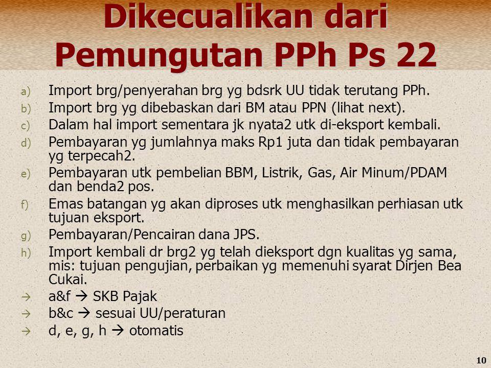 Dikecualikan dari Pemungutan PPh Ps 22