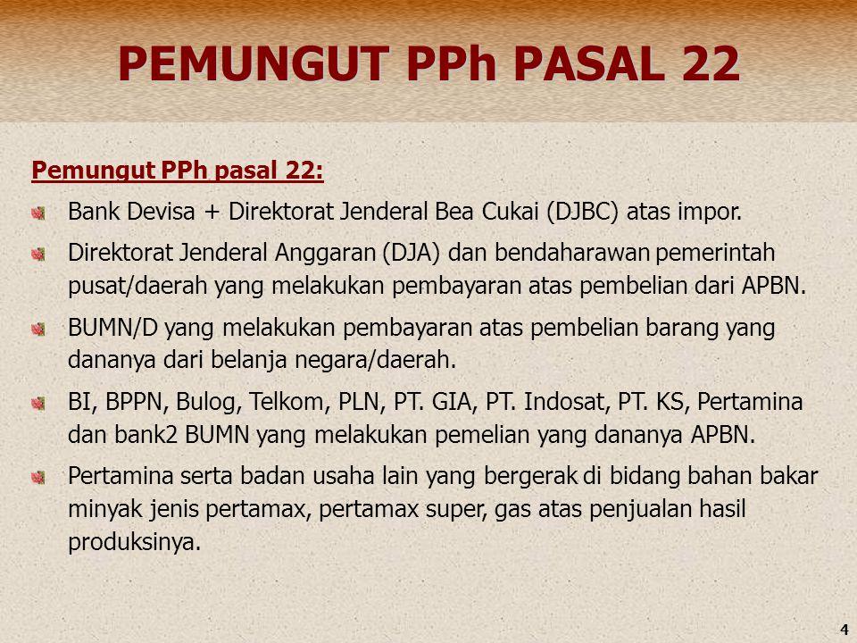 PEMUNGUT PPh PASAL 22 Pemungut PPh pasal 22: