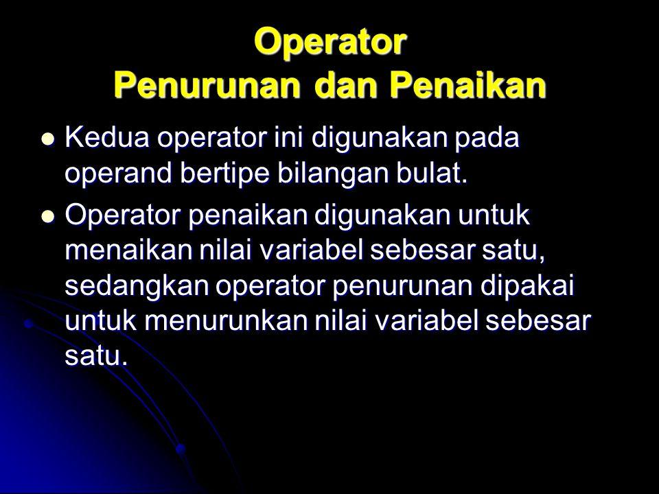 Operator Penurunan dan Penaikan