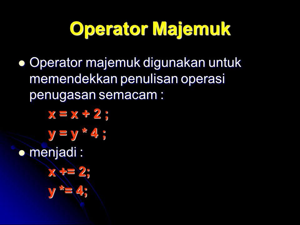 Operator Majemuk Operator majemuk digunakan untuk memendekkan penulisan operasi penugasan semacam :