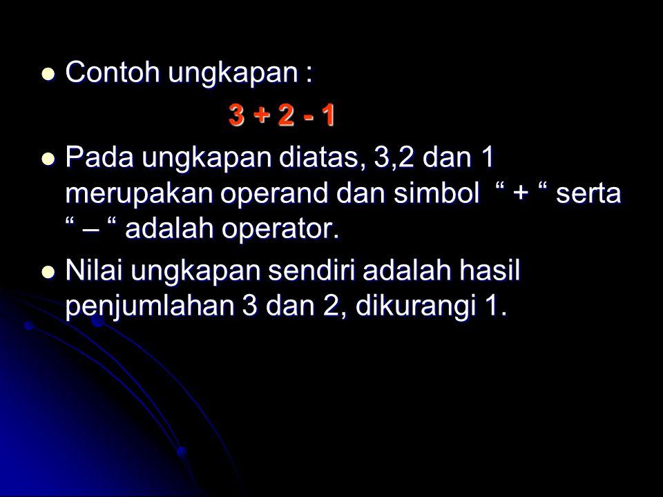 Contoh ungkapan : 3 + 2 - 1. Pada ungkapan diatas, 3,2 dan 1 merupakan operand dan simbol + serta – adalah operator.