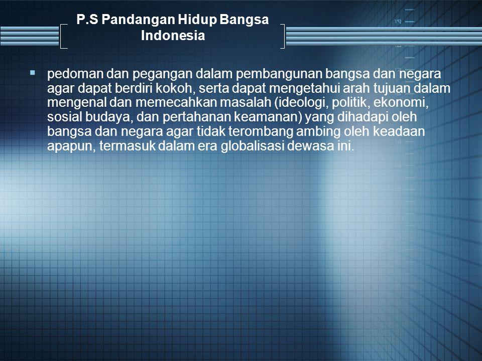 P.S Pandangan Hidup Bangsa Indonesia