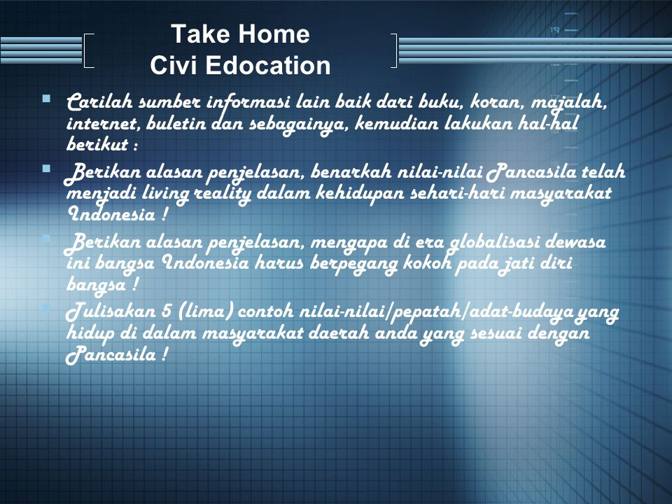 Take Home Civi Edocation
