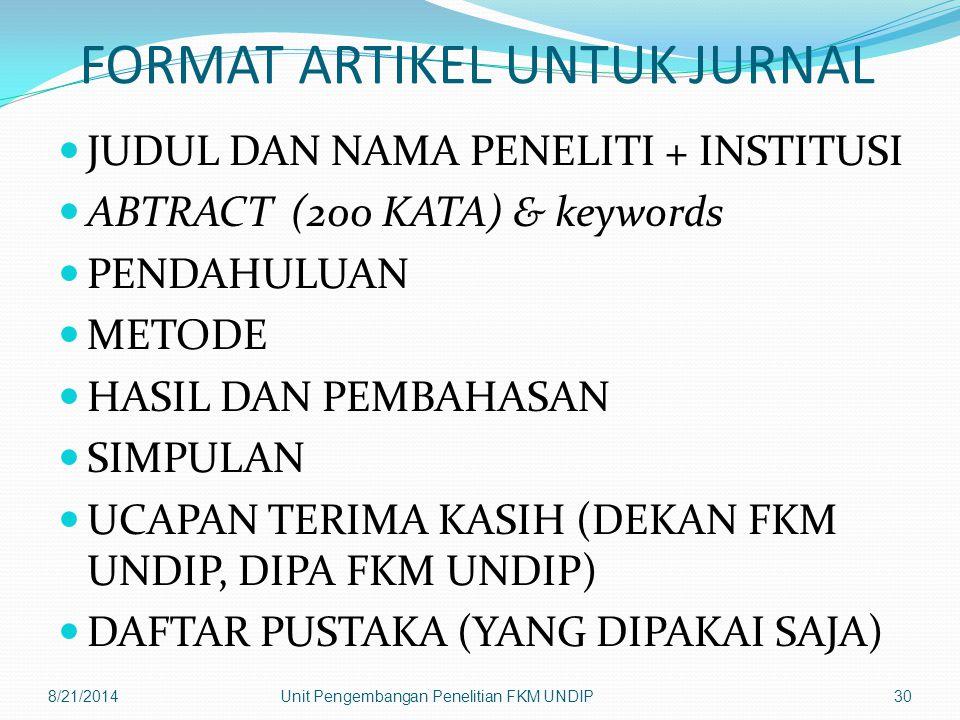FORMAT ARTIKEL UNTUK JURNAL