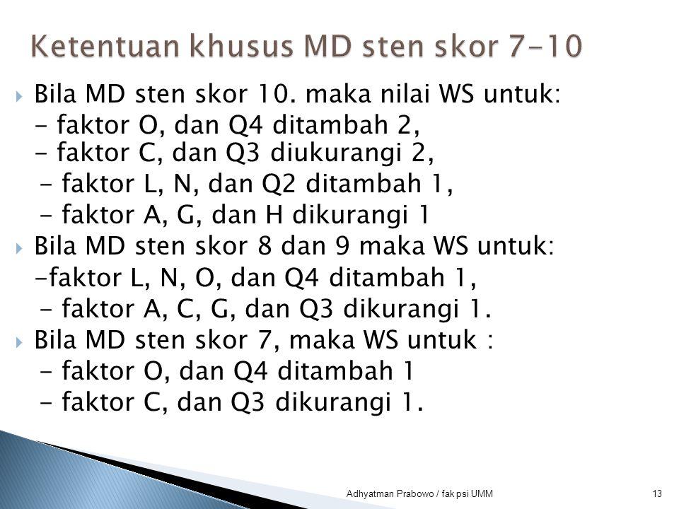 Ketentuan khusus MD sten skor 7-10
