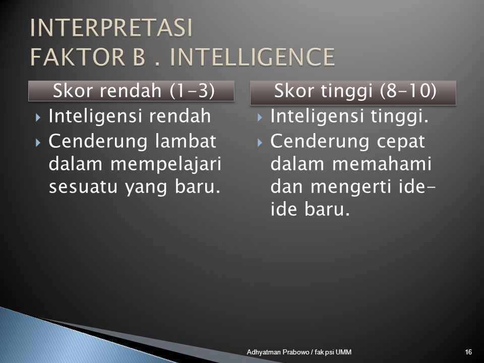 INTERPRETASI FAKTOR B . INTELLIGENCE