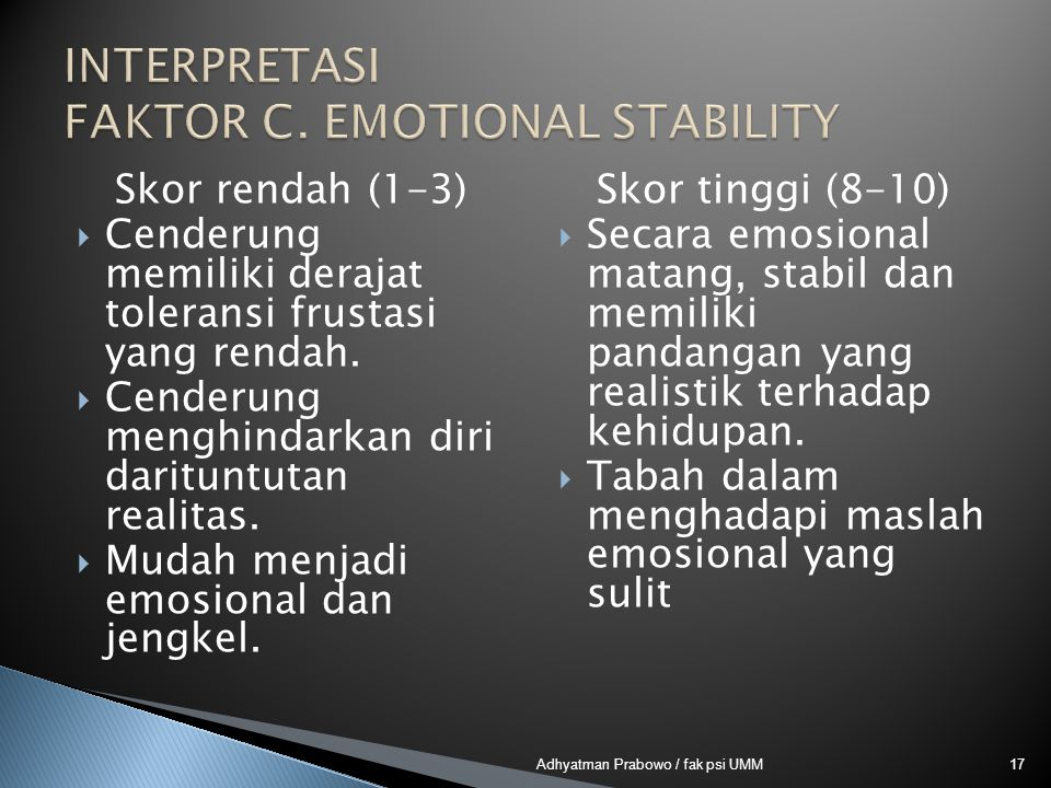 INTERPRETASI FAKTOR C. EMOTIONAL STABILITY