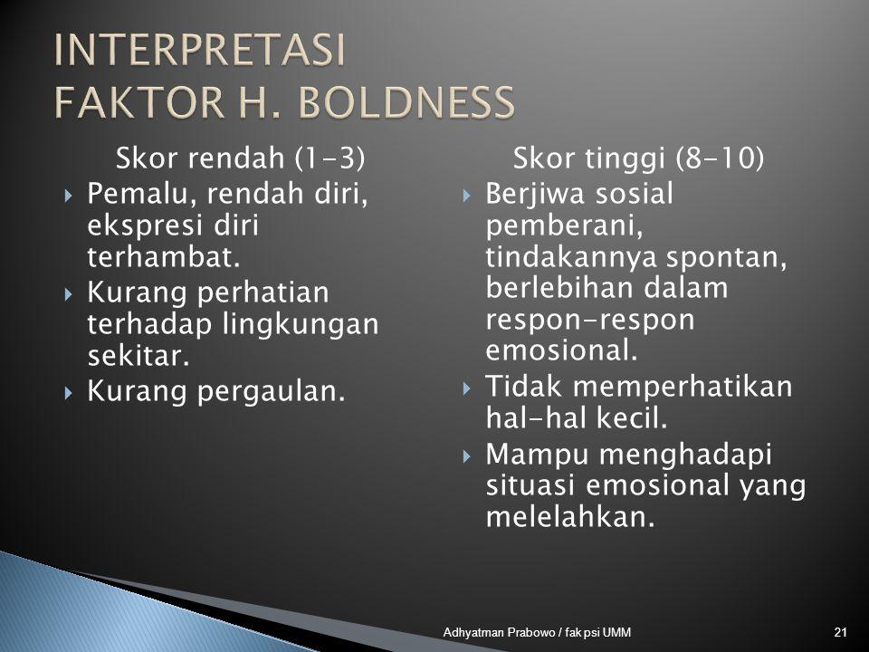 INTERPRETASI FAKTOR H. BOLDNESS