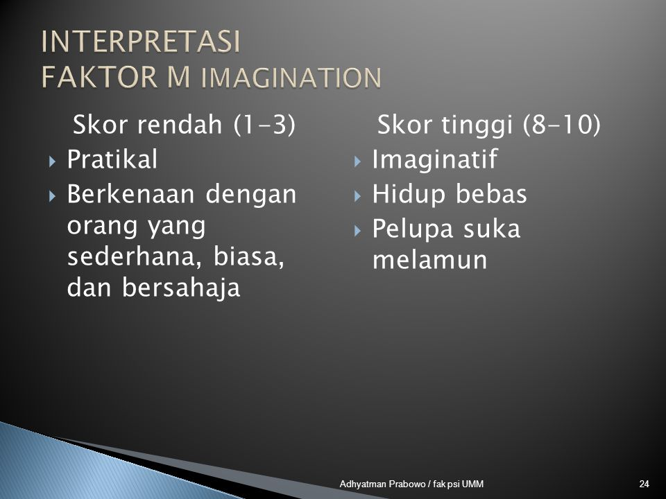 INTERPRETASI FAKTOR M IMAGINATION