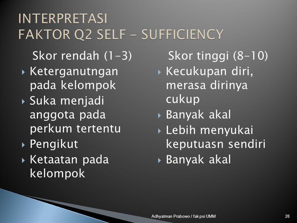 INTERPRETASI FAKTOR Q2 SELF - SUFFICIENCY