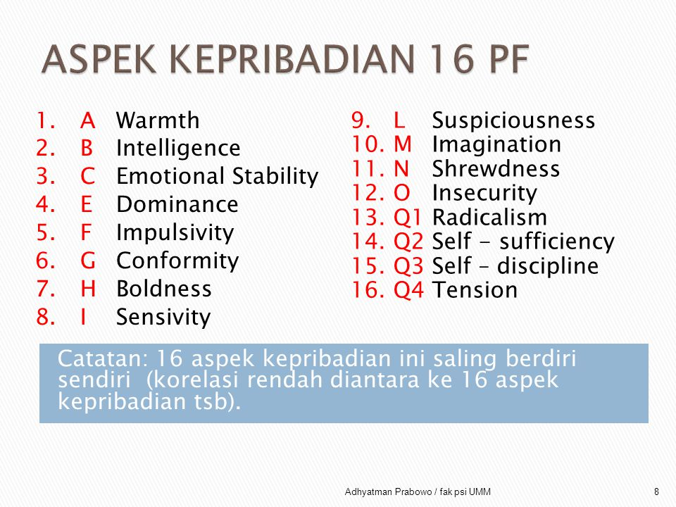 ASPEK KEPRIBADIAN 16 PF A Warmth