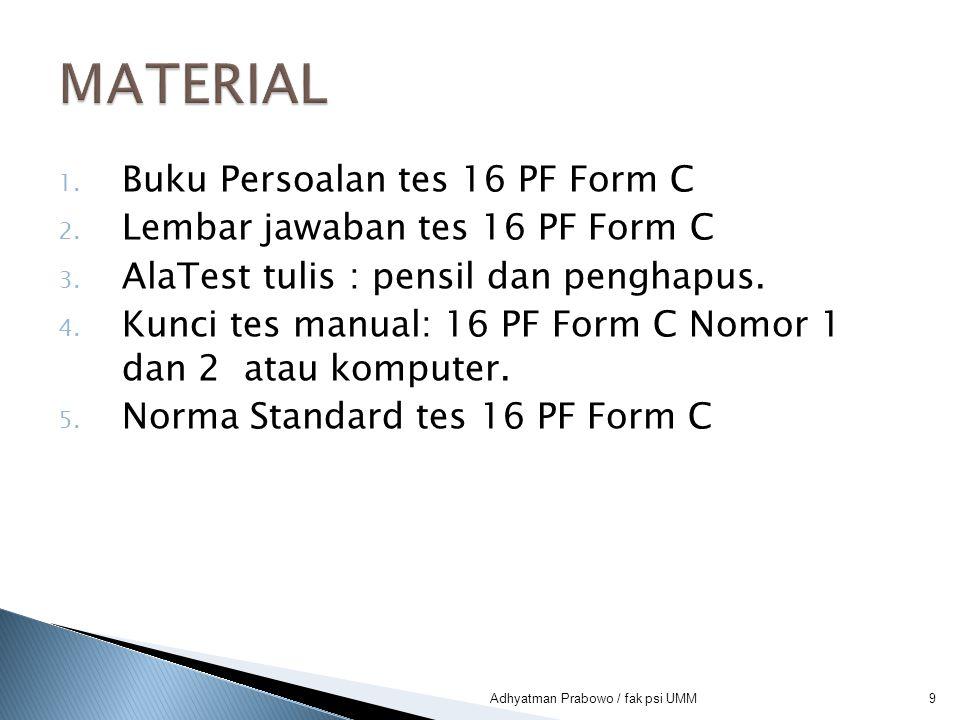 MATERIAL Buku Persoalan tes 16 PF Form C