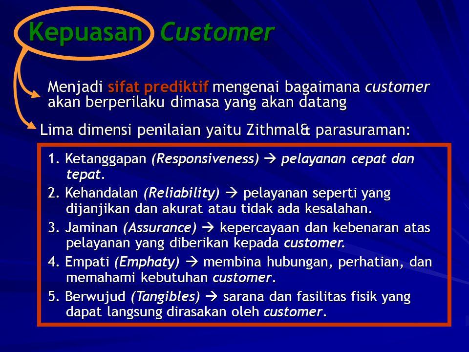 Kepuasan Customer Menjadi sifat prediktif mengenai bagaimana customer akan berperilaku dimasa yang akan datang.