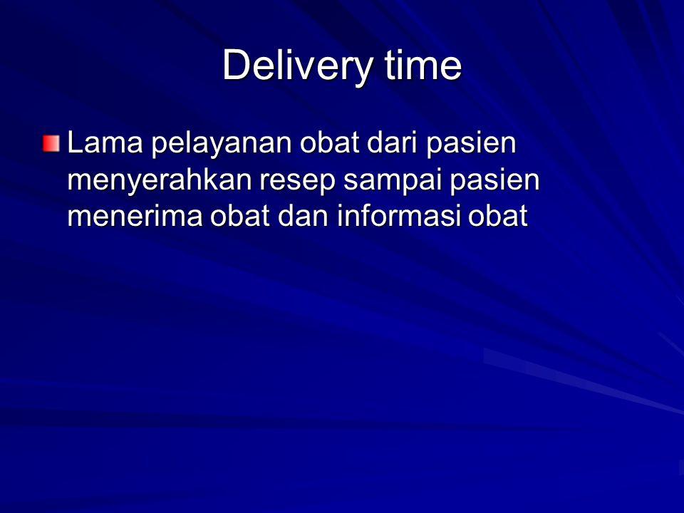 Delivery time Lama pelayanan obat dari pasien menyerahkan resep sampai pasien menerima obat dan informasi obat.