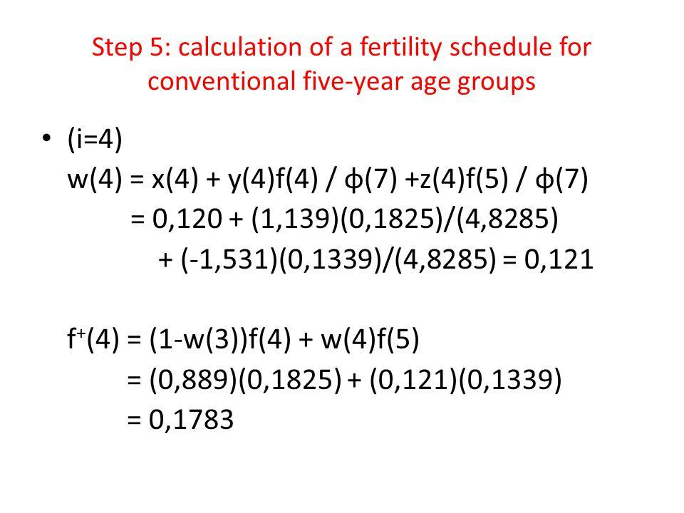 w(4) = x(4) + y(4)f(4) / φ(7) +z(4)f(5) / φ(7)