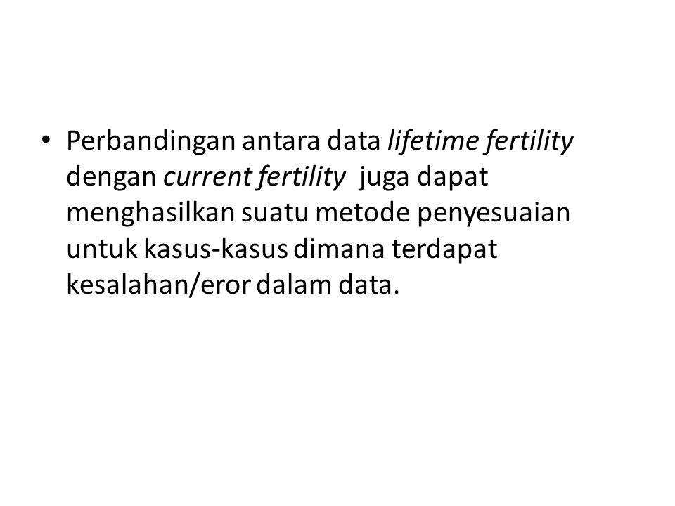 Perbandingan antara data lifetime fertility dengan current fertility juga dapat menghasilkan suatu metode penyesuaian untuk kasus-kasus dimana terdapat kesalahan/eror dalam data.