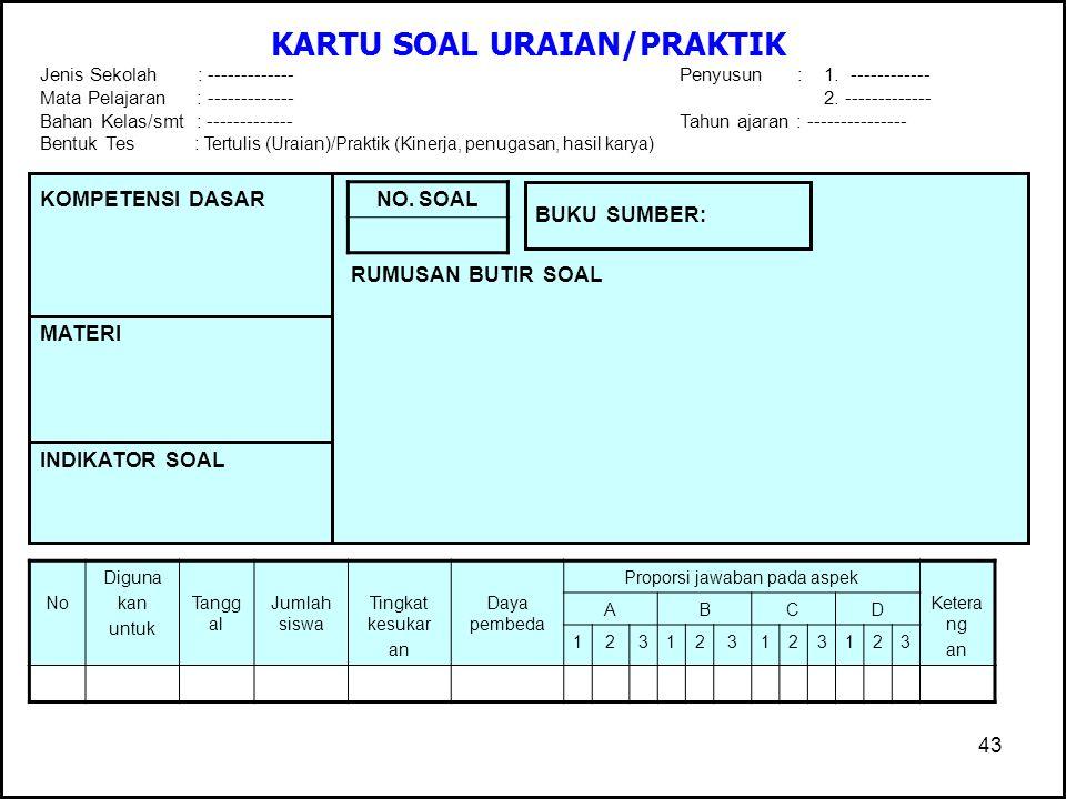 KARTU SOAL URAIAN/PRAKTIK