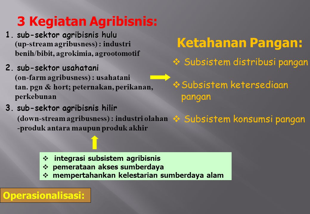 3 Kegiatan Agribisnis: Ketahanan Pangan: Subsistem distribusi pangan