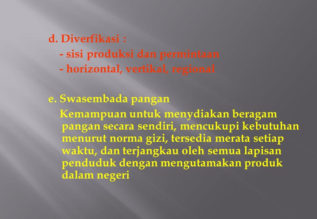 d. Diverfikasi : - sisi produksi dan permintaan - horizontal, vertikal, regional e.