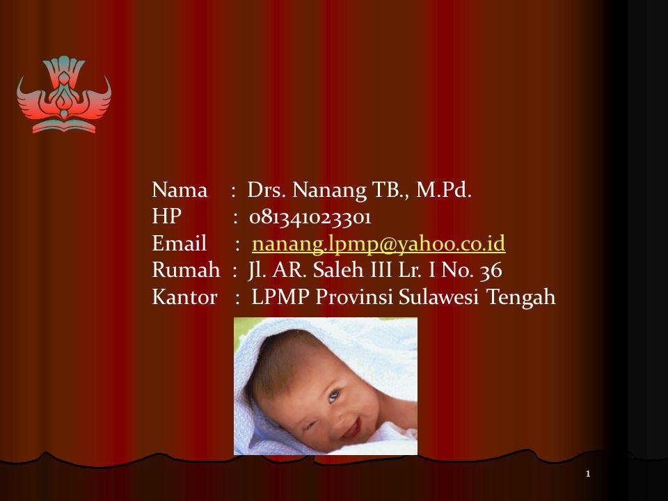 Nama : Drs. Nanang TB., M.Pd. HP : 081341023301. Email : nanang.lpmp@yahoo.co.id.