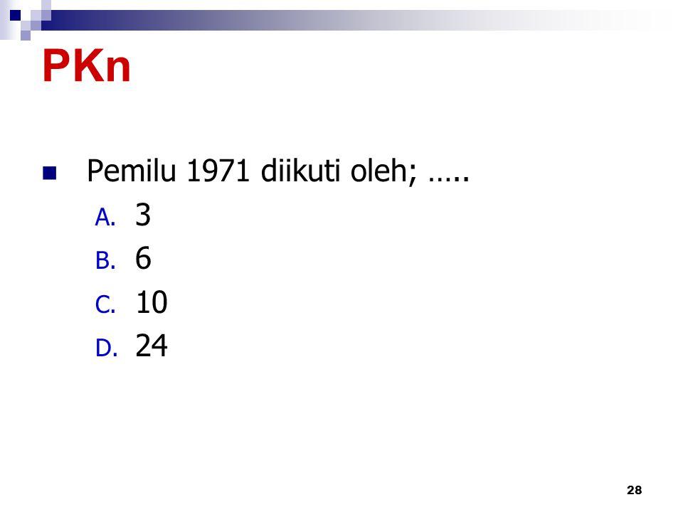 PKn Pemilu 1971 diikuti oleh; ….. 3 6 10 24 by iwan & yeni