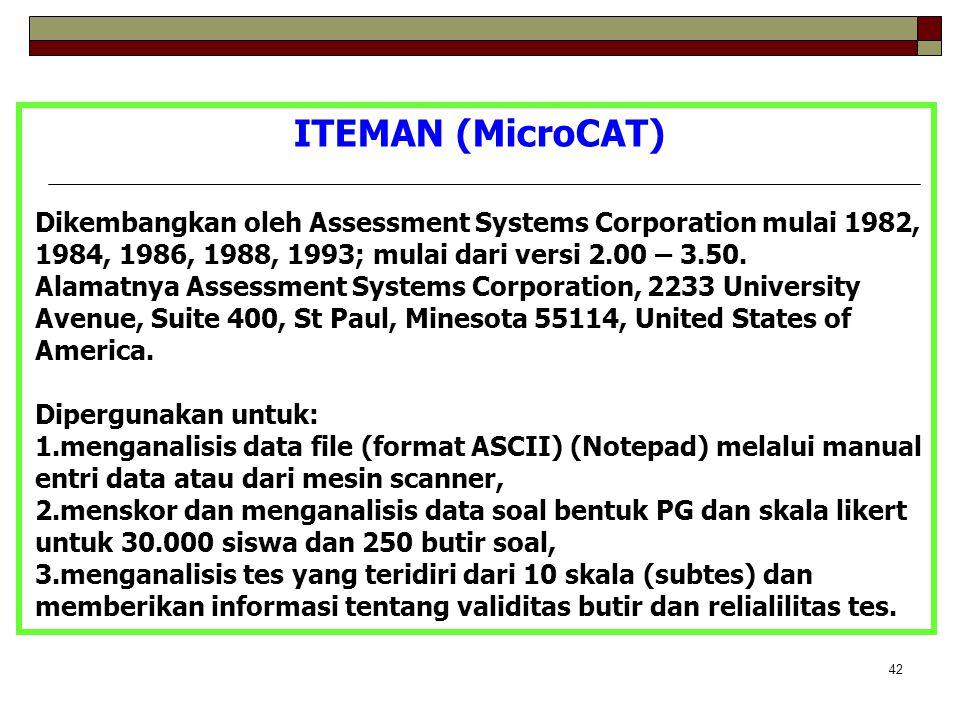 ITEMAN (MicroCAT) Dikembangkan oleh Assessment Systems Corporation mulai 1982, 1984, 1986, 1988, 1993; mulai dari versi 2.00 – 3.50.