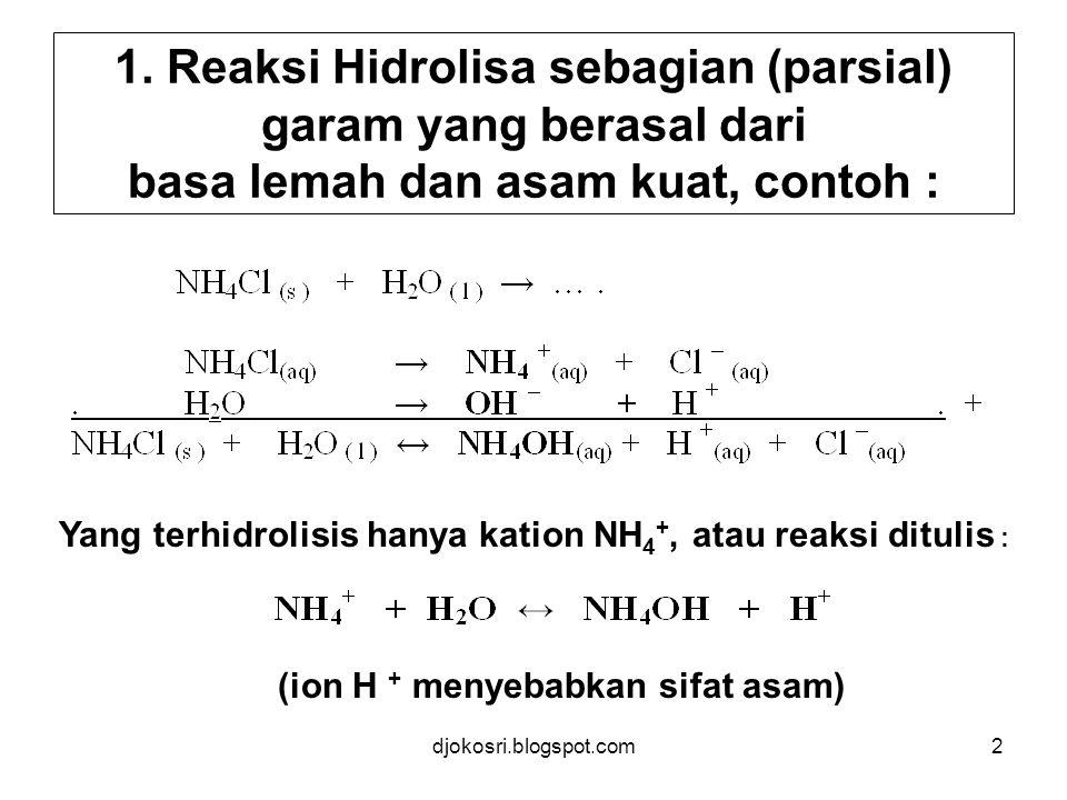 Yang terhidrolisis hanya kation NH4+, atau reaksi ditulis :