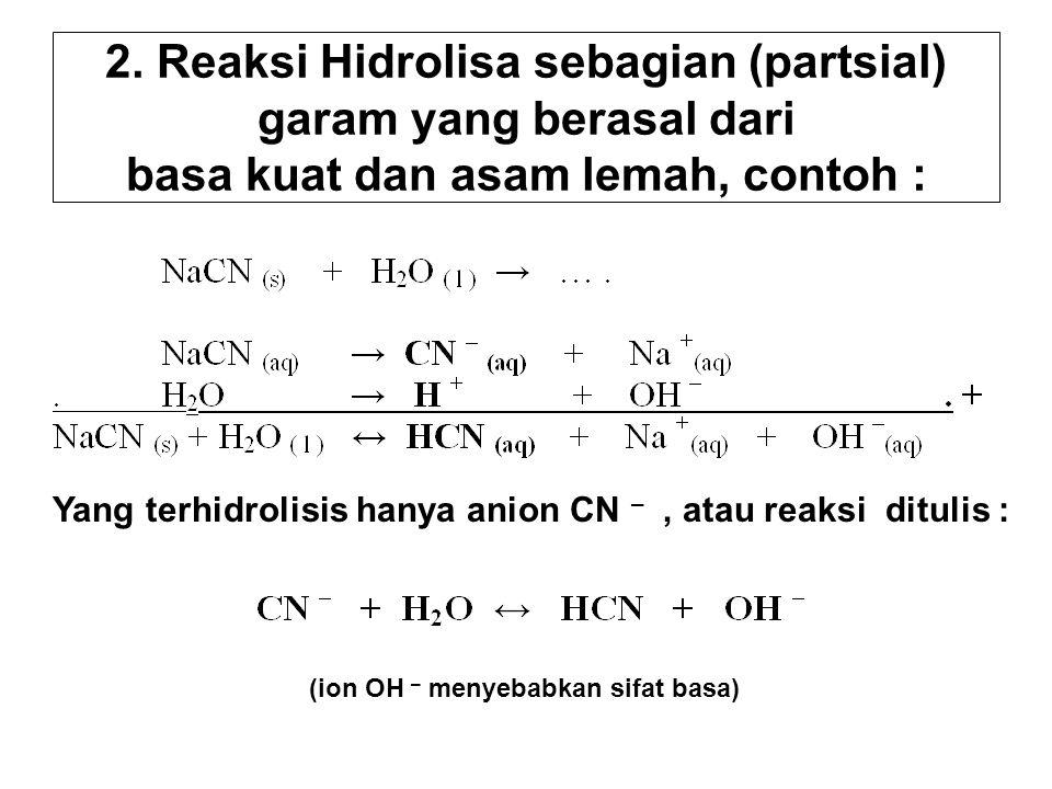 Yang terhidrolisis hanya anion CN – , atau reaksi ditulis :