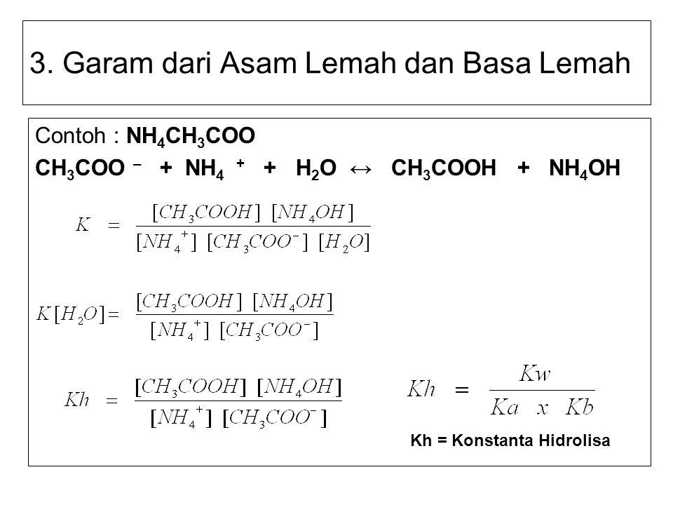 3. Garam dari Asam Lemah dan Basa Lemah