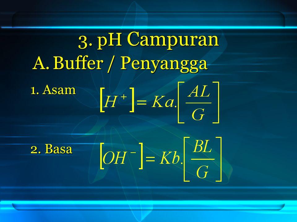 3. pH Campuran Buffer / Penyangga 1. Asam 2. Basa